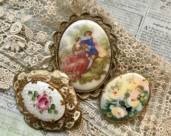 Vintage Jewelry- Brooch- Porcelain Painted Floral Brooch- Fragonard Brooch- Jewelry Lot Found Object Antique Jewelry