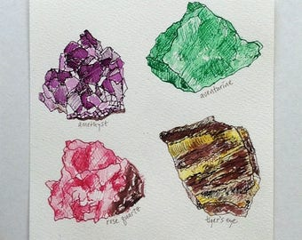 Crystals, Geology Ink Drawing, Geologist Gift, Geometric, Polygon, Science Art, Minerals Rocks Art, Amethyst Artwork, Natural History