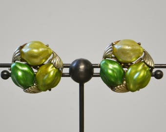 Vintage Tri-Color Green Costume Earrings, Clip-Ons
