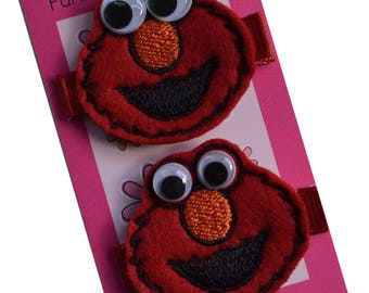 Elmo Embroidered Children's No Slip Alligator Hair Clip Set by Funny Girl Designs