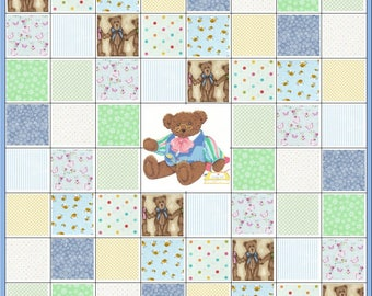 Infant Baby~Small Boy~Playpen or Stroller Quilt Kit~Teddy Bear All Dressed Up~Wall Hanging~Dots~Butterflies~Stripe~Blue~Green~Fabric~QK#97
