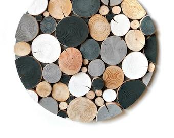 Monochrome LOG MOSAIC - Wall Art - Picture - Modern - Art - Sculpture - Wall Decor - Wood - wood slice - black - grey - white - circle