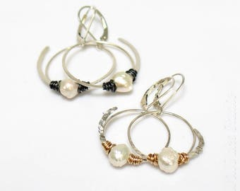 Druzy Pearl Hoop Dangle Earrings in Mixed Metals, Freshwater Pearls and Sterling Silver Drop Hoops, WillOaks Studio Pearl Dangle Hoops