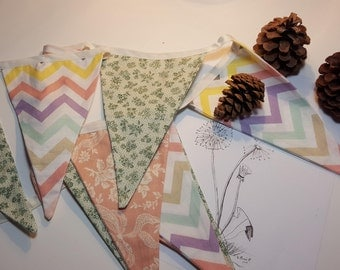 Shabby Chic Bunting, Easter banner, Fabric Flags, re-usable Party decor, Flag banner, green peach and chevron