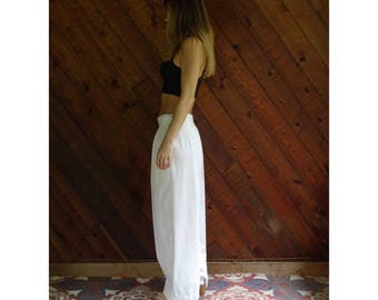 Cotton Pleat Front Wide Leg Trousers - Vintage 90s - XL