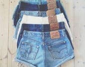 LEVI'S Denim Cutoff Shorts CUSTOM-FIT Vintage Button Fly 501's or Zip Fly Levi Jean Shorts All Sizes
