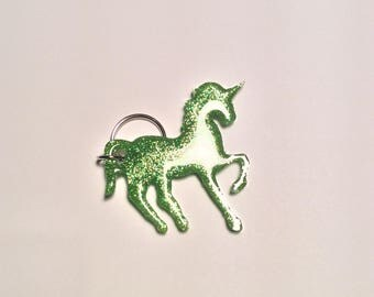 Green glitter unicorn resin key ring