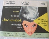 Vintage JAC-O-NET Pkg of 2 WHITE Deluxe Nylon Invisible Hair Nets Fit Perfectly like a Human Hairnet-Finer than Human Hair No Visible Edge