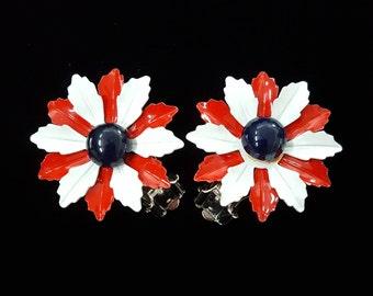Vintage Americana Flower Earrings, Patriotic Red White & Blue Enamel Floral Clip-On Earrings- 3-D Flowers- Vintage 1960s 70s
