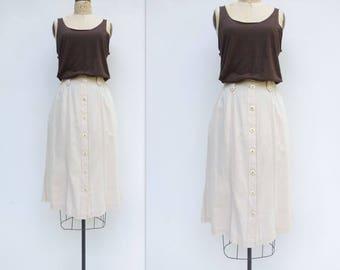 Button Front Skirt A Line Midi Skirt High Waist Skirt Unbleached Cotton Vintage Midi Skirt Utility Skirt 80s Vintage Skirt  m