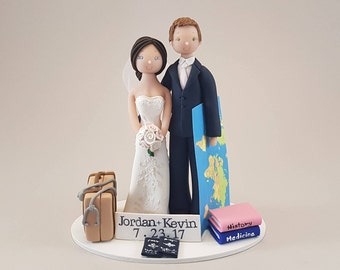 Bride & Groom Personalized Travel Theme Wedding Cake Topper