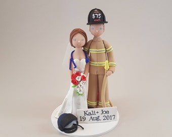 Firefighter & Fight Paramedic Personalized Wedding Cake Topper