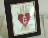 Antique Velvet Frame, Heart in Hand Love Token, French Document, Anniversary, Wedding, Engagement, Friendship, Valentine