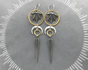 Talisman Bat Wing Earrings with Tribal Crescent Moons, Ridged Spikes and 24k Gold Circle Frames