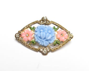 VINTAGE Flowers RHINESTONE Pin BROOCH 1930s Pink Blue Early Plastic Small Scatter Floral Jewelry