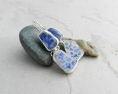 Japanese Blue-White Beach Shard Pottery & Sterling Earrings~Feminine-Artisan Metalsmith