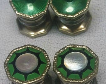 2 Pair Cuff Link Stud Set Green Guilloche and Pearl Mens Womens Antique Jewelry #B805
