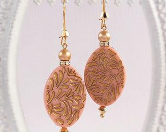 Boho Dangle Earrings - Pink - Bohemian Earrings - RETRO BOHO Pink