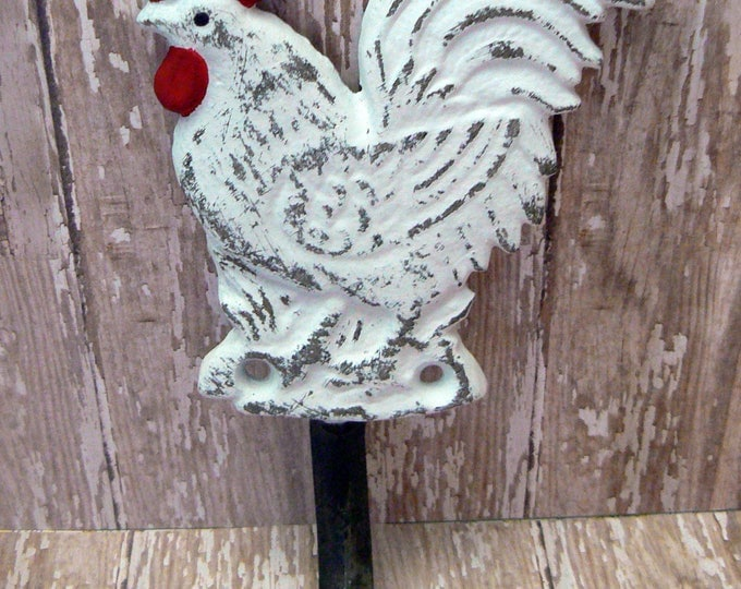 Rooster White Red Shabby Chic Hook Country Kitchen Home Decor