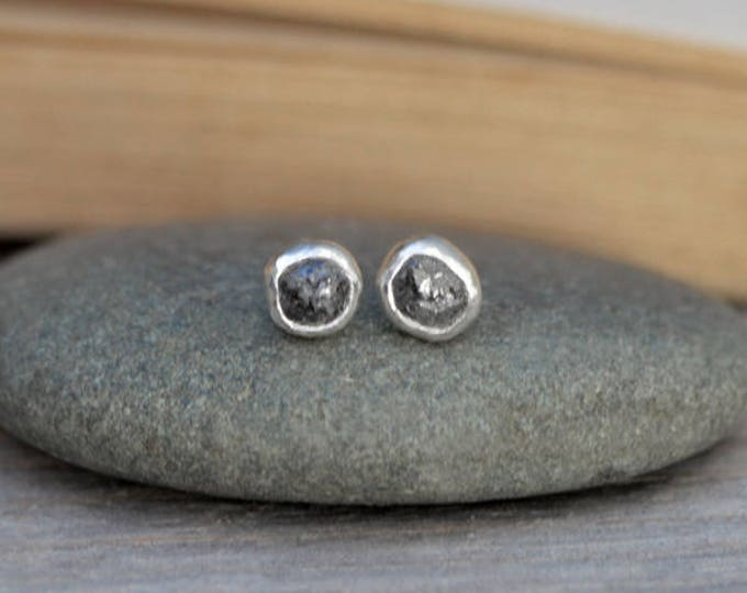 Raw Diamond Earring Studs, Total 1ct Diamonds,Dark Grey Diamond Studs, Black Diamond Wedding Gift Handmade In England