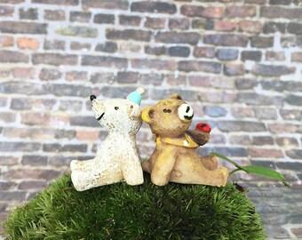 2 Miniature Bear / Terrarium Accessories/ Fairy garden Accessories/ Tiny Bear/ Dollhouse pet