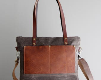 Medium Waxed Canvas Tote in Brown with Cognac Leather Pockets and Handles Cross Body Strap