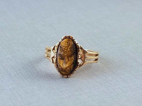 Antique Victorian 10k rose gold tiger eye quartz cameo ring size 6