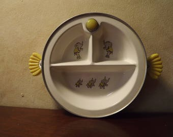 Mid Century Warming Bowl Baby Feeding Dish Yellow Circus  Elephants by Majestic USA