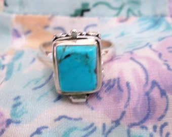 RING - ORNATE - TURQUOISE  -Poison - Opens  - 925 - Sterling Silver  - size 7  -  Turquoise 185