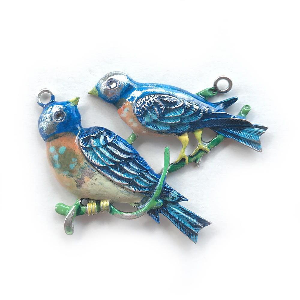 bluebird pendant painted bird pendant vintage bird pendant