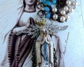 Vintage and New Catholic Virgin Mary OL Lourdes Religious Handmade Necklace, Collar Catolico Virgen Maria