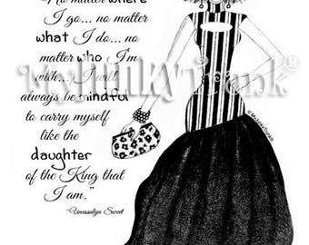 Regal- African American Natural Hair Fashion Illustration Black and White Art Print