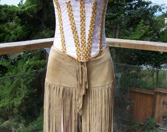 Leather corset dress, Fringe Dress, Native dress, Tribal Dress, Pocahontas dress, size m, Green Market Vintage