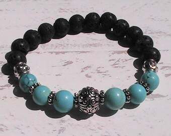 diffuser beaded bracelet. natural lava rock bracelet. diffuser jewelry. stretch bracelet. handcrafted jewelry.