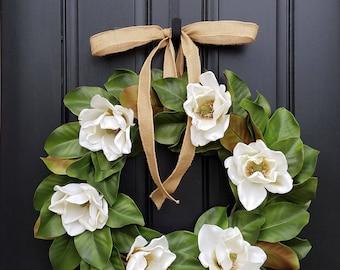 Faux Magnolia Leaf Wreath, Fixer Upper Magnolia Wreath, Magnolia Leaf Wreath, White Magnolia Wreath, Realistic Magnolia Wreath