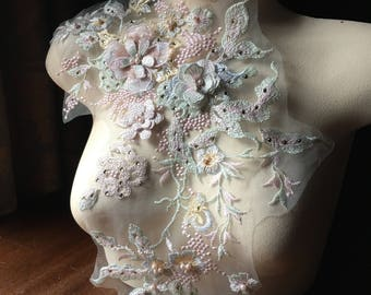 Pastel 3D Applique , Beaded and Embroidered for Lyrical Dance, Ballet, Couture Gowns F15