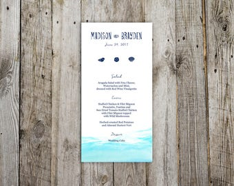Nautical Sea  Design Flat Wedding Menu, Dinner Reception Menus, Ocean Destination