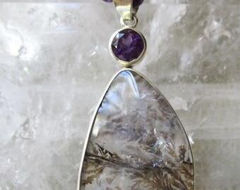 Dentrite Quartz Pendant with Amethyst & Moonstone, Gemstone Necklace