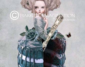 Marie Antoinette Art Print - Rococo Art Print - Dauphine - Marie Antoinette Cake - Wall decor - Bitter Sweet