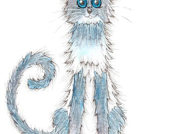 BLUE Cat, Cat PRINT, mounted print, nursery print, illustration print