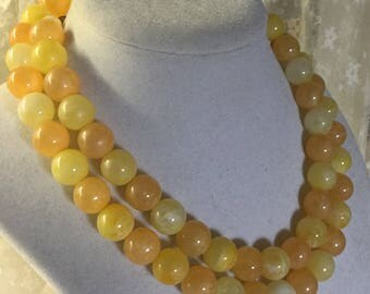 Long Long Lemonade Golden Yellow Lucite Bead Necklace Unsigned Single Strand or Doubled Same Size Beads Feminine 1960's 1970's