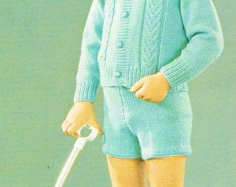 Downloadable Vintage knitting Pattern - Boys and Girls matching outfits - PDF Pattern - retro 1960s Children's Sweaters, shorts and skirts
