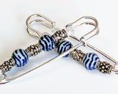 Bleu, blanc n rassemblement argent broche paire, manche nautique Pin, bleu marine et blanc broche de corsage, sans trous foulard broche
