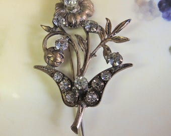Victorian Floral Stick Pin Gold Plated Vintage Costume Jewelry