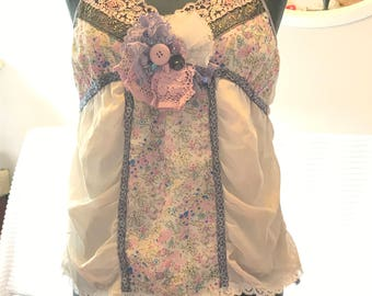 upcycled camisole bohemian top floral pale lavendar flowers and lace small to medium