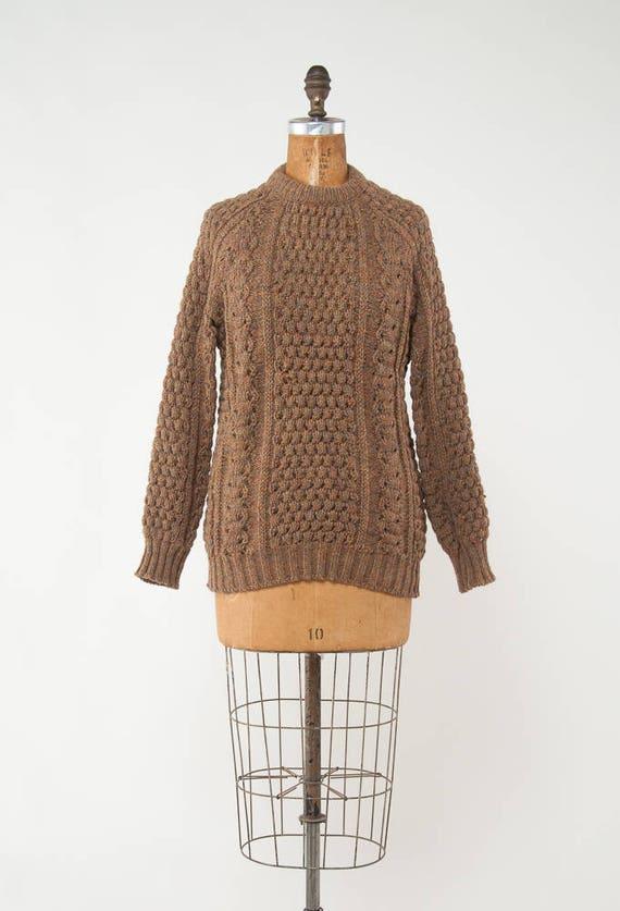 Vintage 1960s Irish Sweater Hand Knit Sweater Mocha Sweater