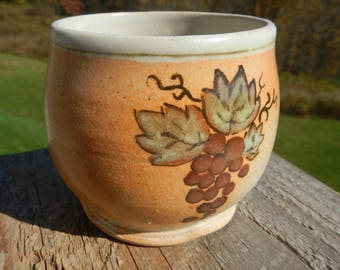 Shino stemless wine glass on sale, cup, wood-fired, wood fired stoneware,  split-fire pottery, hand made grape design, wine cup, pottery