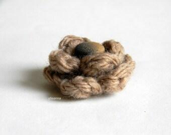 Flower lapel pin. Wool boutonniere. Men accessories. Men buttonhole. Camel beige boutonniere. Flower stick pin.