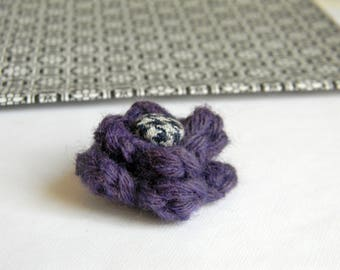 Flower lapel pin. Wool boutonniere. Men accessories. Men buttonhole. Purple boutonniere. Flower stick pin.