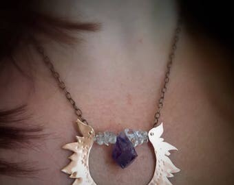 Amethyst fire goddess necklace in copper, amethyst and quartz crystal